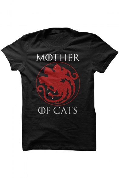 Cool Cat Letter Printed Round Neck Short Sleeves Casual Tee
