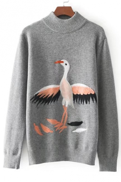 Crane Sweater Print Sleeve Long Neck Cute Pullover Mock Cartoon 57xq87BH