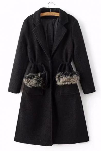 Elegant Faux Fur Embellished Single-Button Pockets Notched Lapel Drawstring Waist Longline Coat