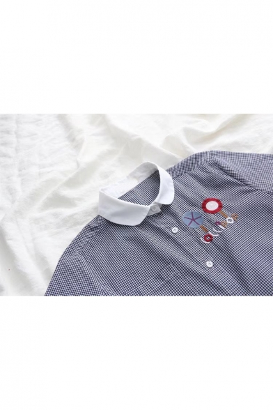 Girlish Lapel Button Down Embroidery Elastic Cuffs Chest Pocket Loose Casual Shirt