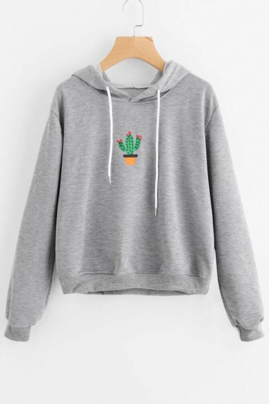 Print Leisure Hood Drawstring Cactus Hoodie Sleeve Long fFFq5Wn