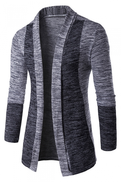 Trendy Lapel Color Slim Fit Block Front Men's Cardigan Open Popular dqRBWfHdpx