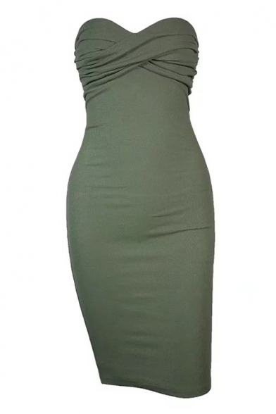 New Stylish Simple Plain Bandeau Bodycon Dress