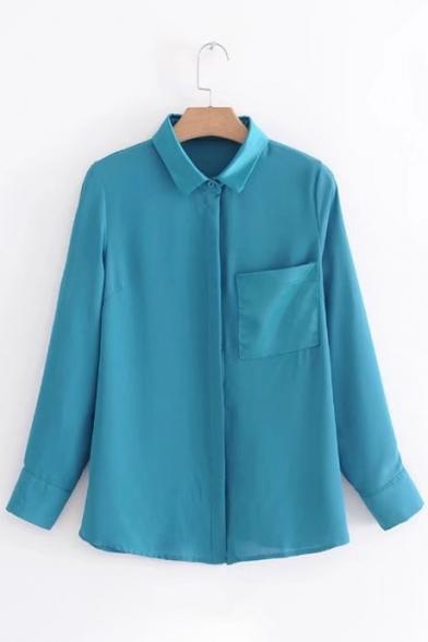 Lapel Down Shirt Pocket Sleeve Button Long Trendy Plain New 7fw4I4