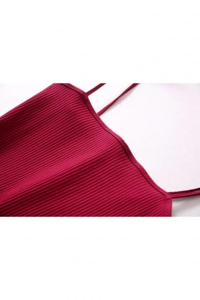 New Trendy Tie Shoulder Simple Plain Slip Dress