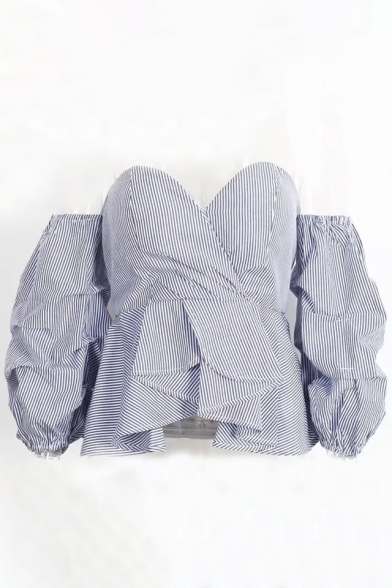 Sexy Sweetheart Neck Off the Shoulder Wrap Front Zip-Back Asymmetrical Hem Striped Blouse