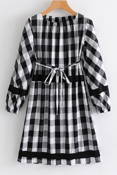 Spring Fashion Round Neck Long Sleeves Checkered Plaids Bow Belted A-line Mini Monochrome Dress