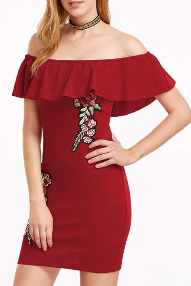 fda19fd039db Stylish Floral Embroidered Off the Shoulder Ruffle Detail Bodycon Mini Dress  ...