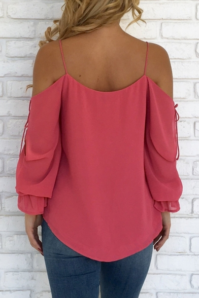 Summer Collection Spaghetti Straps Cold Shoulder Bow Lace-up Sleeves Loose Blouse