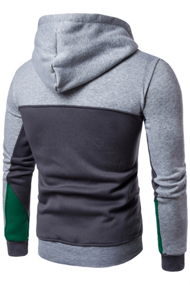 Hoodie Front Pullover Long Zipper with Zipped Pockets Trendy Color Block Sleeves pAqF0wF