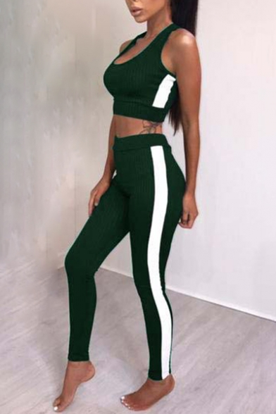 Trendy Striped Side Slim-Fit Cropped Tank Top with Elastic Waist Workout Pants
