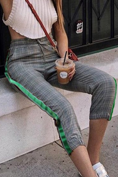 Trendy Tartan Plaids Striped Side Drawstring Waist Slim-Fit Pants Capris