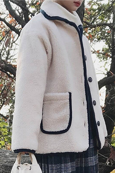 Contrast Fashion with Over Button Button Trimmed Coat Down Winter Pockets Faux Lapel Down Fur Sized fdwtcq