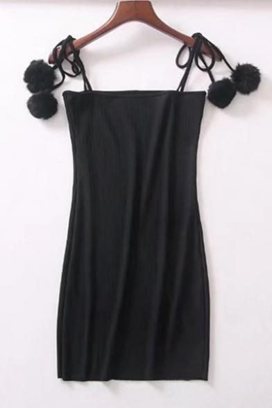 Women's Spaghetti Straps Pompom Embellished Ribbed Plain Mini Cami Dress