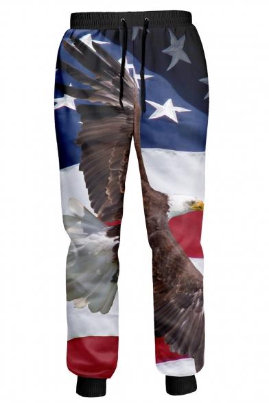 Image of 3D Eagle Star Color Block Print Drawstring Waist Pants