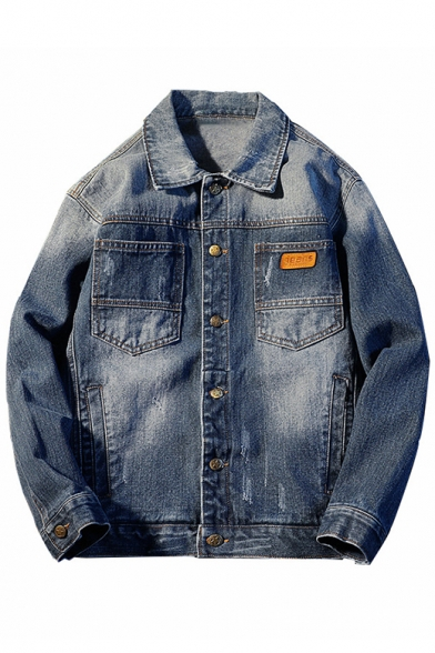 Casual Lapel Button Down Long Sleeves Denim Jacket with Pockets
