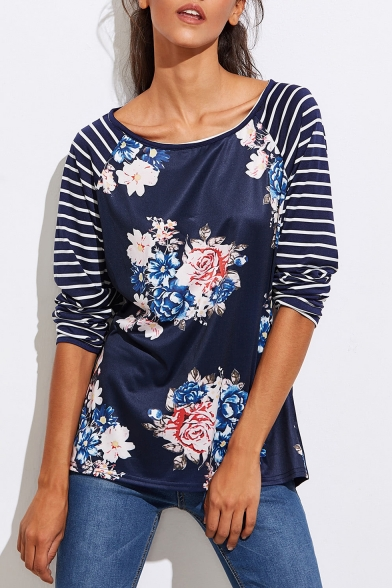 Floral Tee Striped Neck Boat Sleeves Pattern Casual Women's qESzz
