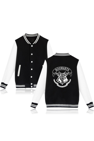 Striped Block Long Collar Stand Color Print Chic Jacket Up Baseball Letter Sleeve tqEHwX1x