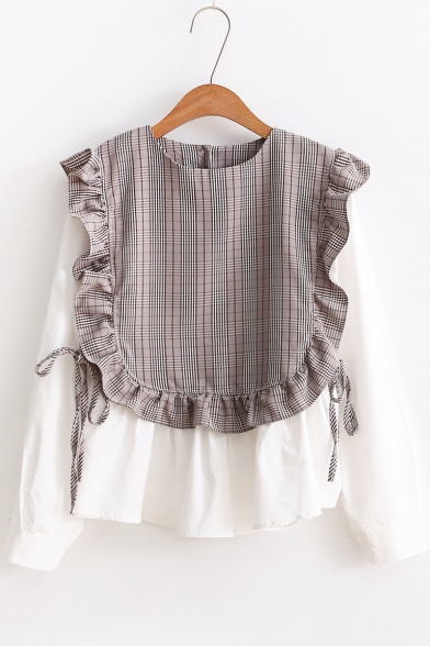 Chic Plaid Print Ruffle Fake Two Piece Long Sleeve Round Neck Blouse