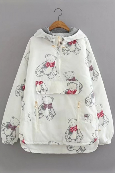 Cute Bear Cartoon Allover Pattern High Low Hem Front Zipper Pocket Hooded Coat