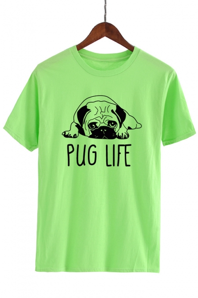 Casual Puppy Letter Cute Round Short Tee Neck Sleeves Printed Dog 8vxwdw6
