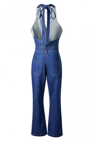 Fancy Halter Neck Bow Open Back Zippered Wide Leg Denim Jumpsuit