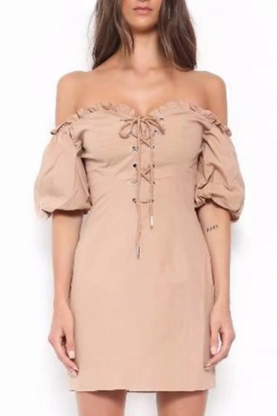 Fancy Off the Shoulder Ruffle Detail Lace-up Front Mini Bodycon Dress
