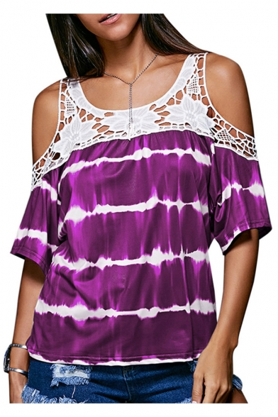 Fashion Shoulder Striped Print Tee Short Lace Cold Sleeve Insert xwraqAXw