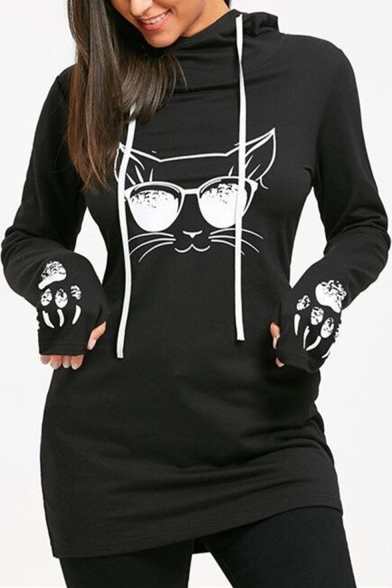 Fashionable Cartoon Cat Print Long Sleeve Hooded Dress