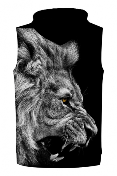 Fashionable Roaring Lion Pattern Sleeveless Pullover Unisex Trendy Hoodie