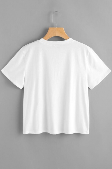 Funny Short Neck T shirt Sleeves Pattern Round Alien Summer Letter AagvrqAnH