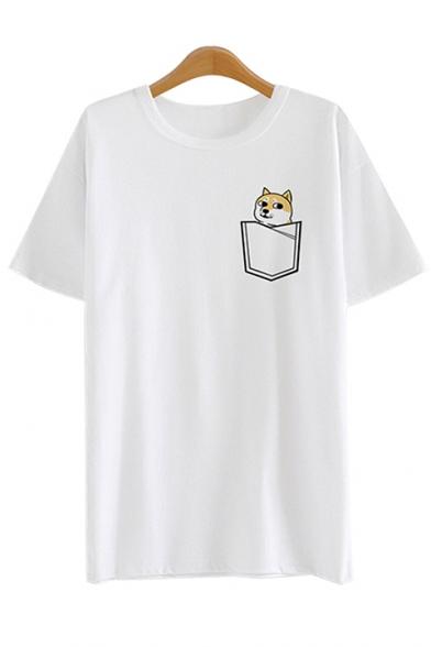 Neck shirt Short Fake Pocket T Round Dog Sleeves Funny Summer Doge Printed qpZxZYS