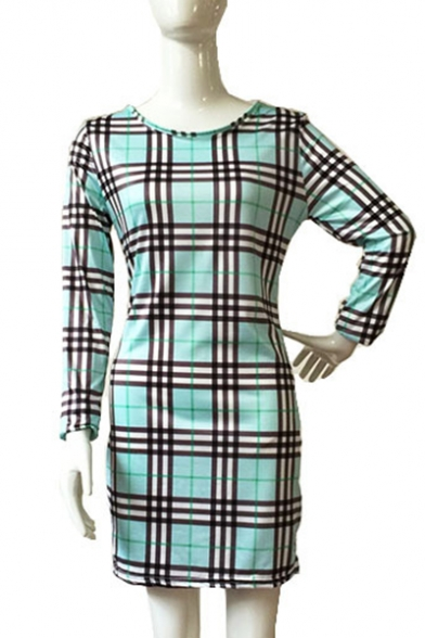 Plaids Long Hot Dress Pencil Tartan Fashion Round Sleeves Neck Mini wqBfFRYB