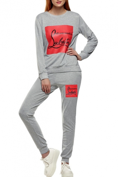 New Trendy Letter Print Long Sleeve Sweatshirt Sport Co-ords