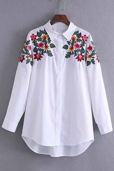Long Point Floral Sleeves Tunic Popular Down Collar Shirt Embroidered Button q61PgxxwIn