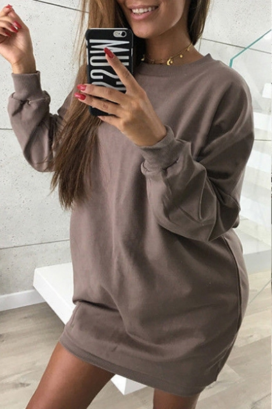 Simple Basic Plain Round Neck Long Sleeves Pullover Sweatshirt Mini Dress
