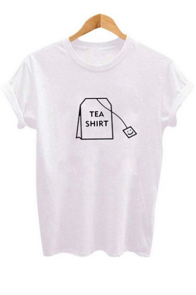 Simple Teabag Pattern Round Neck Short Sleeves Casual Tee