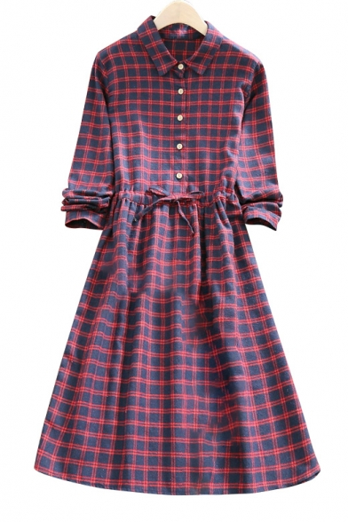 Spring'New Collar Breasted Midi Dress Arrival Lapel Sleeve Long Plaid Single Z7qZEnHUrW