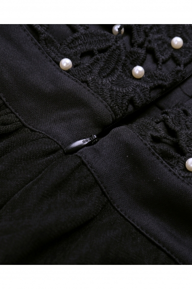 Stylish Beaded Lace Insert Round Neck Plain Tank Dress
