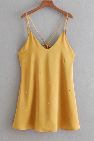 Stylish Tie Open Back Star Embellished Slip Dress