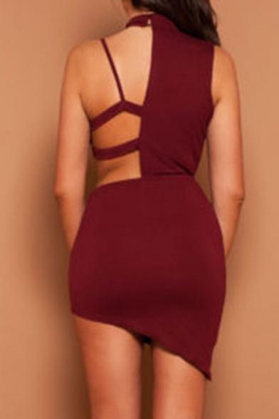 Unique Halter Neck Cutout Hollow Bodycon Mini Cami Plain Dress