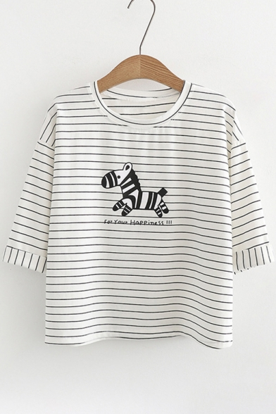 Zebra Graphic Round Striped Sleeve Letter Tee Half Neck Print rqrHxg0