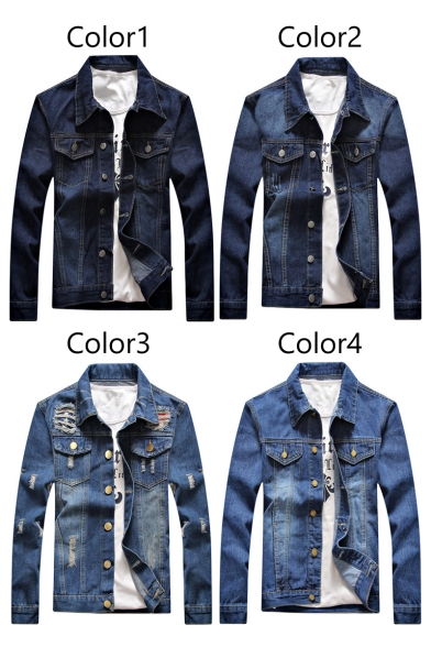 Autumn Jacket Sleeves Fashion Ripped Down Button Pockets Lapel Denim with Long Chest nngOw