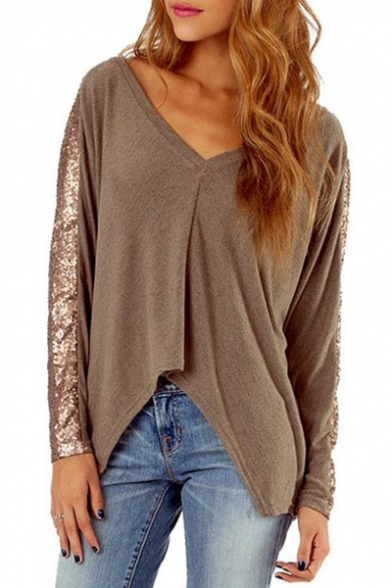 Casual V-Neck Sequined Patchwork Long Sleeves High Low Hem Loose Tee