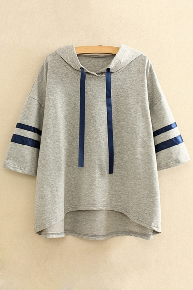 Causal Striped Pattern High Low Hem Short Sleeves Casual Hooded Tee Top