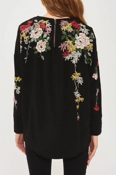 Pullover Embroidered Chic Neck Sweatshirt Long Round Sleeve Floral WCYYwOqU