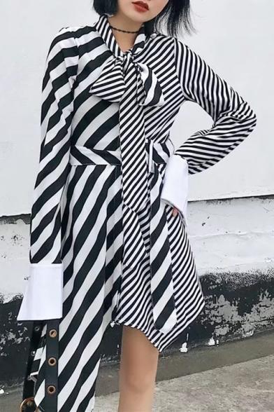 Chic Striped Print Bow Front Belt Waist Long Sleeve Asymmetric Hem Dress