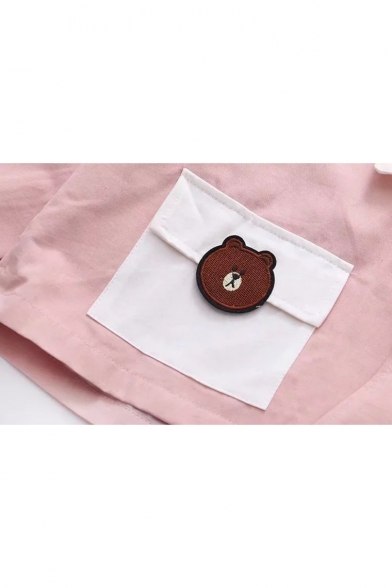 Color Block Cartoon Bear Hamburger Pattern Double Button Hooded Coat