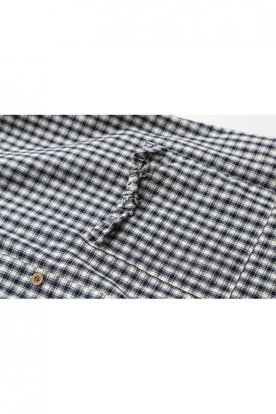 Pocket Sleeve Plaid Cute Print Single with Breasted Cartoon Long Shirt zpq7PB