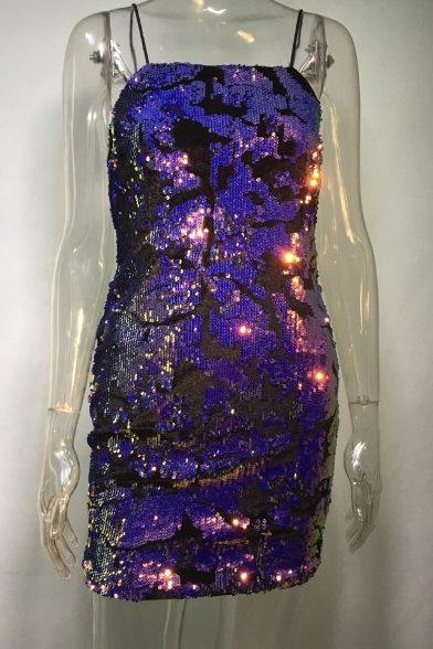Dress Cami Back Zip Straps Fabulous Bodycon Sequined Spaghetti Mini Z81YT